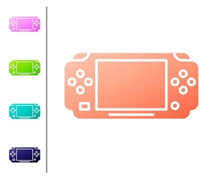 Coral Portable video game console icon isolated on white background. Gamepad sign. Gaming concept. Set color icons. Vector Illustration