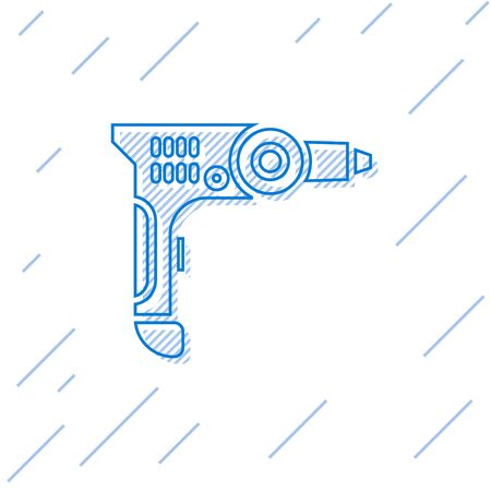 Blue line Electric drill machine icon isolated on white background. Repair tool. Vector Illustration
