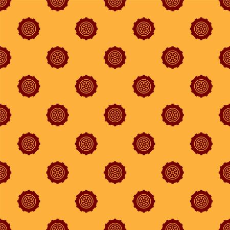 Red Car wheel icon isolated seamless pattern on brown background. Vector Illustration