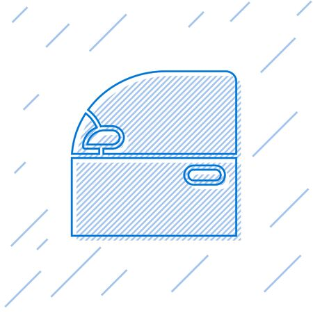 Blue line Car door icon isolated on white background. Vector Illustration