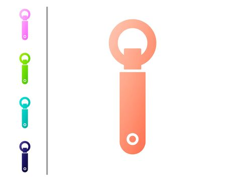 Coral Bottle opener icon isolated on white background. Set color icons. Vector Illustration