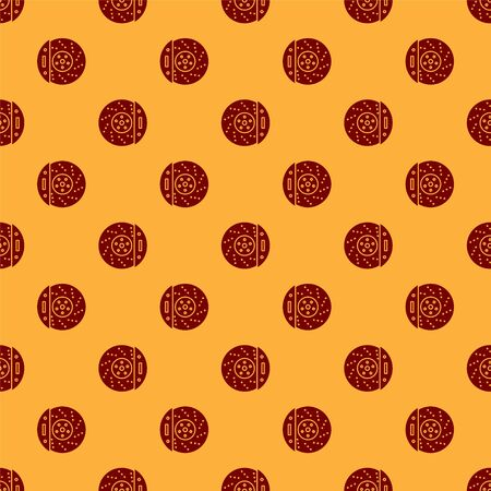 Red Car brake disk with caliper icon isolated seamless pattern on brown background. Vector Illustration