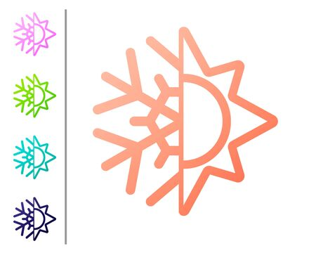 Coral Hot and cold symbol. Sun and snowflake icon isolated on white background. Winter and summer symbol. Set color icons. Vector Illustration