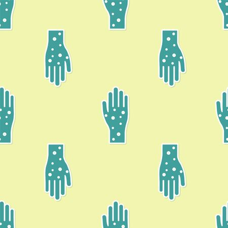 Green Hand with psoriasis or eczema icon isolated seamless pattern on yellow background. Concept of human skin response to allergen or chronic body problem. Vector Illustration Illusztráció