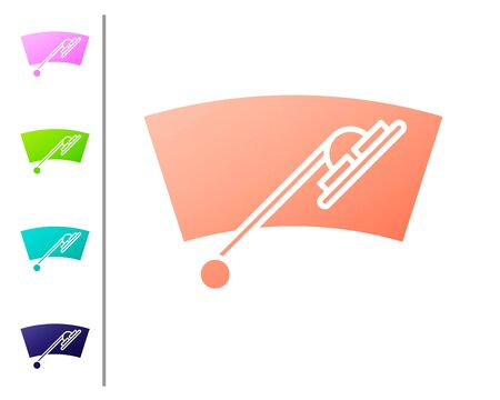 Coral Windscreen wiper icon isolated on white background. Set color icons. Vector Illustration Illustration