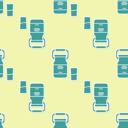 Green Can container for milk and glass icon isolated seamless pattern on yellow background. Vector Illustration