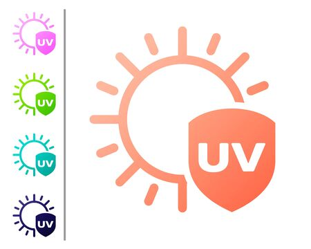Coral UV protection icon isolated on white background. Sun and shield. Ultra violet rays radiation. SPF sun sign. Set color icons. Vector Illustration