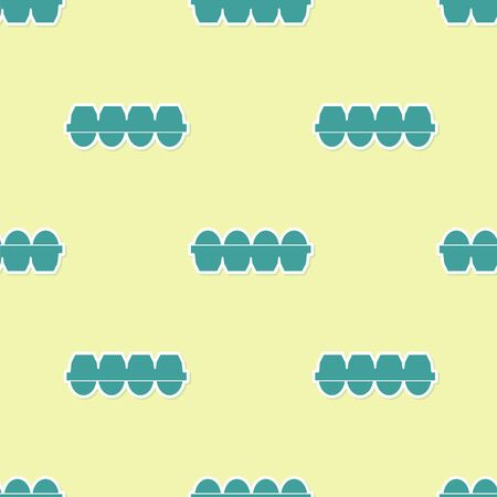 Green Chicken egg in box icon isolated seamless pattern on yellow background. Vector Illustration