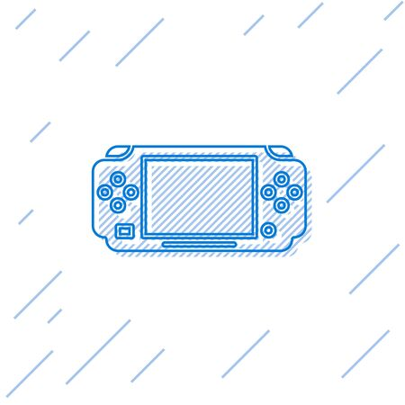 Blue line Portable video game console icon isolated on white background. Gamepad sign. Gaming concept. Vector Illustration