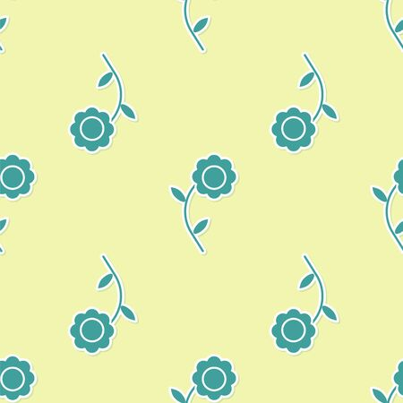 Green Flower icon isolated seamless pattern on yellow background. Vector Illustration Illustration