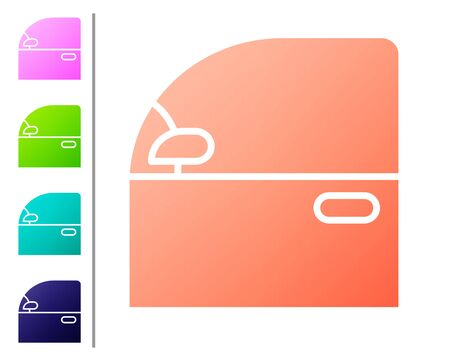 Coral Car door icon isolated on white background. Set color icons. Vector Illustration