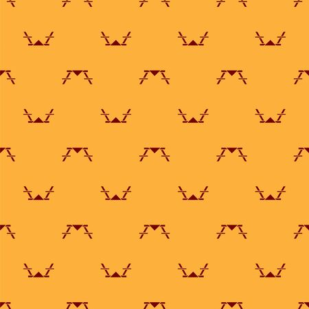 Red Picnic table with benches on either side of the table icon isolated seamless pattern on brown background. Vector Illustration 일러스트