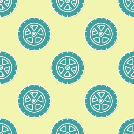 Green Car wheel icon isolated seamless pattern on yellow background. Vector Illustration