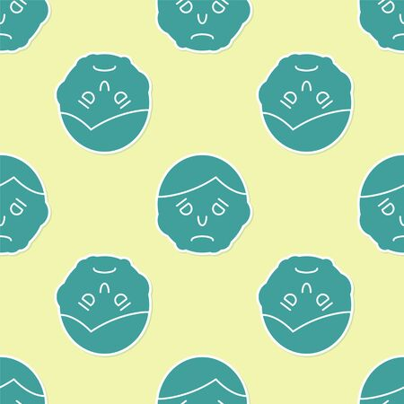 Green Inflammation on face icon isolated seamless pattern on yellow background. Vector Illustration