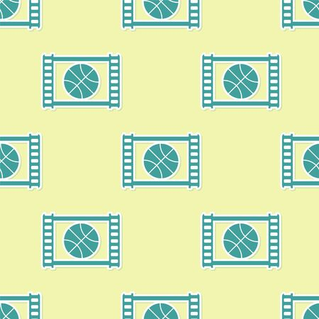 Green Basketball game video icon isolated seamless pattern on yellow background. Vector Illustration