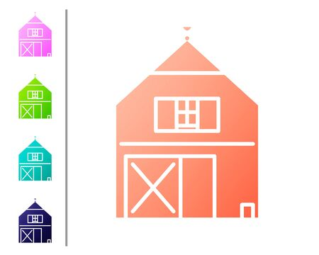 Coral Farm House concept icon isolated on white background. Rustic farm landscape. Set color icons. Vector Illustration