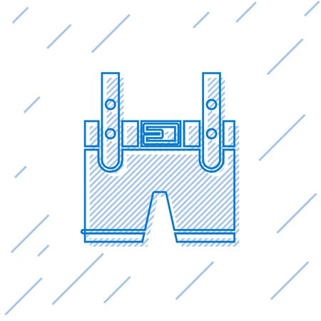 Blue line Lederhosen icon isolated on white background. Traditional bavarian clothing. Oktoberfest outfit. Pants with suspenders. Patrick day. Vector Illustration Illustration