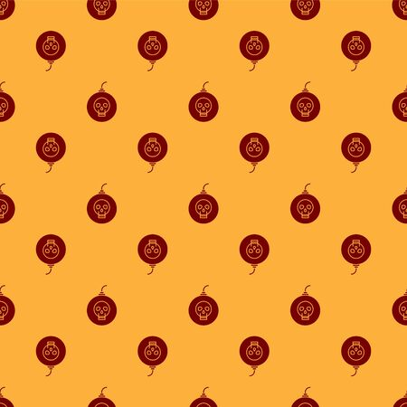 Red Bomb ready to explode icon isolated seamless pattern on brown background. Happy Halloween party. Vector Illustration Illustration