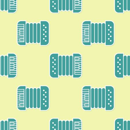 Green Musical instrument accordion icon isolated seamless pattern on yellow background. Classical bayan, harmonic. Vector Illustration