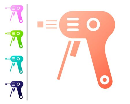 Coral Electric hot glue gun icon isolated on white background. Hot pistol glue. Hot repair work appliance silicone. Set color icons. Vector Illustration