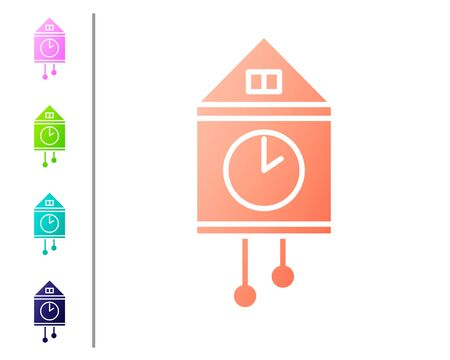 Coral Retro wall watch icon isolated on white background. Cuckoo clock sign. Antique pendulum clock. Set color icons. Vector Illustration