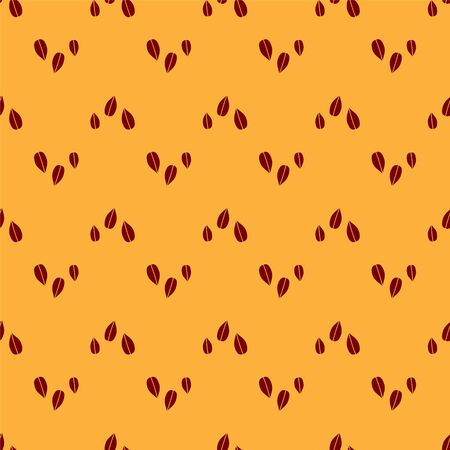 Red Sesame seeds icon isolated seamless pattern on brown background. Vector Illustration