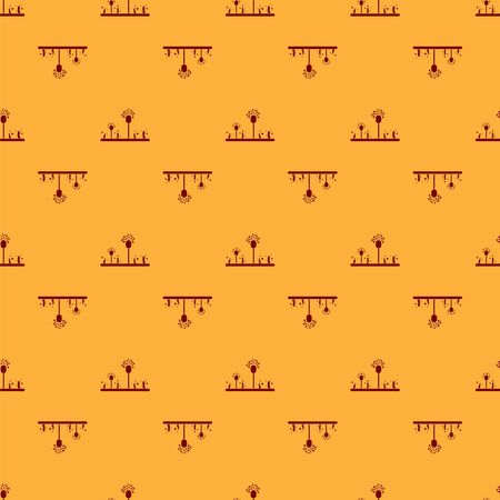 Red Mold icon isolated seamless pattern on brown background. Vector Illustration Illustration