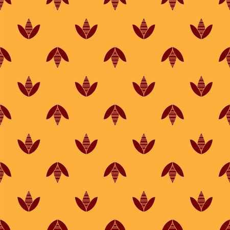 Red Bee icon isolated seamless pattern on brown background. Sweet natural food. Honeybee or apis with wings symbol. Flying insect. Vector Illustration