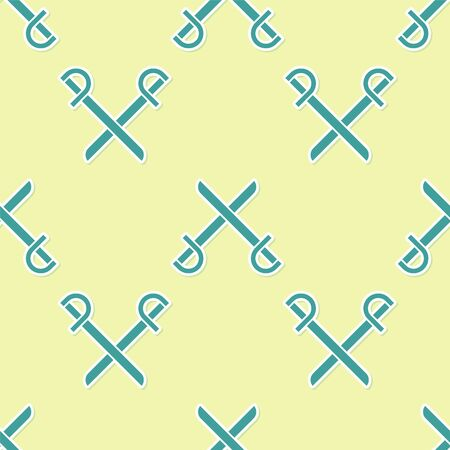 Green Crossed pirate swords icon isolated seamless pattern on yellow background. Sabre sign. Vector Illustration