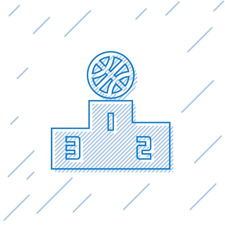 Blue line Basketball over sports winner podium icon isolated on white background. Vector Illustration