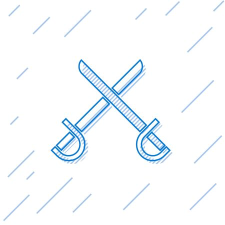 Blue line Crossed pirate swords icon isolated on white background. Sabre sign. Vector Illustration