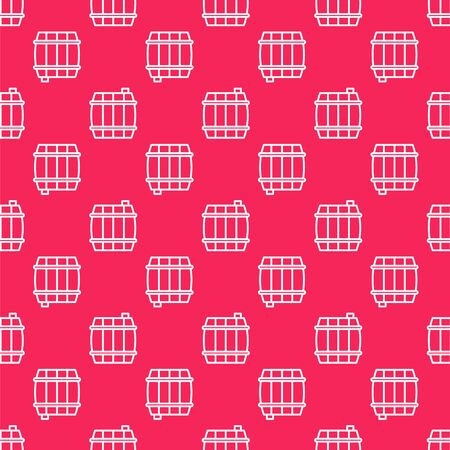 White line Wooden barrel icon isolated seamless pattern on red background. Alcohol barrel, drink container, wooden keg for beer, whiskey, wine. Vector Illustration Stock Illustratie