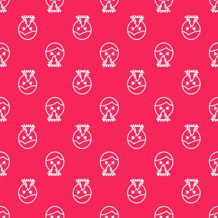 White line Man holding handkerchief or napkin to his runny nose icon isolated seamless pattern on red background. Coryza desease symptoms. Vector Illustration