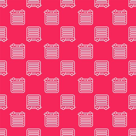 White line Electric heater icon isolated seamless pattern on red background. Infrared floor heater with remote control. House climate control. Vector Illustration