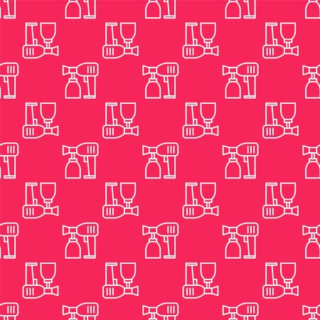 White line Paint spray gun icon isolated seamless pattern on red background. Vector Illustration Illustration