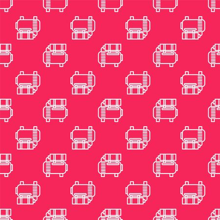 White line Air compressor icon isolated seamless pattern on red background. Vector Illustration