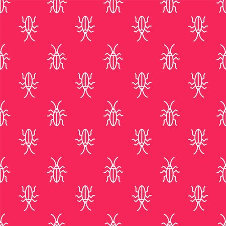 White line Cockroach icon isolated seamless pattern on red background. Vector Illustration Illustration
