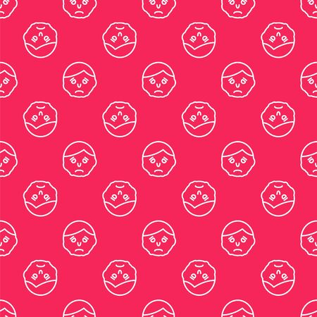 White line Inflammation on face icon isolated seamless pattern on red background. Vector Illustration Illustration
