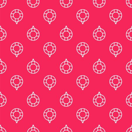 White line Lifebuoy icon isolated seamless pattern on red background. Lifebelt symbol. Vector Illustration