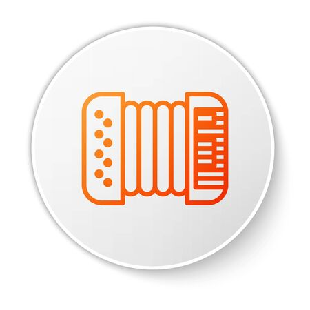 Orange line Musical instrument accordion icon isolated on white background. Classical bayan, harmonic. White circle button. Vector Illustration Illusztráció