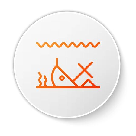 Orange line Sunken ship at the bottom of the sea icon isolated on white background. White circle button. Vector Illustration Vector Illustratie