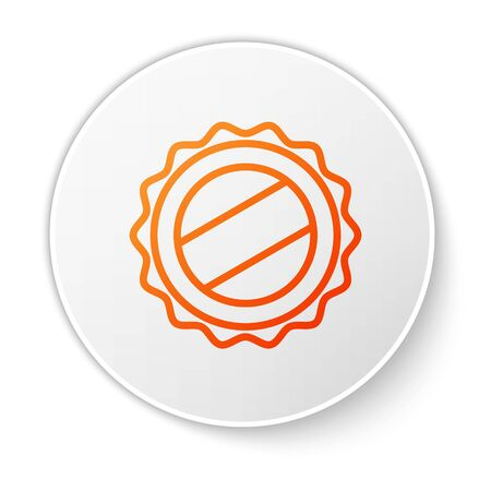 Orange line Bottle cap icon isolated on white background. White circle button. Vector Illustration