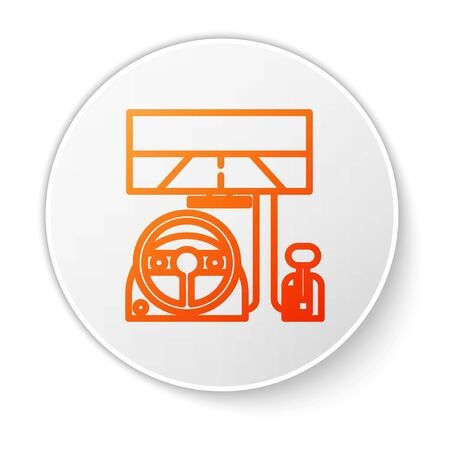 Orange line Racing simulator cockpit icon isolated on white background. Gaming accessory. Gadget for driving simulation game. White circle button. Vector Illustration