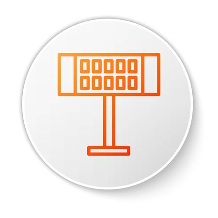 Orange line Electric heater icon isolated on white background. Infrared floor heater with remote control. House climate control. White circle button. Vector Illustration