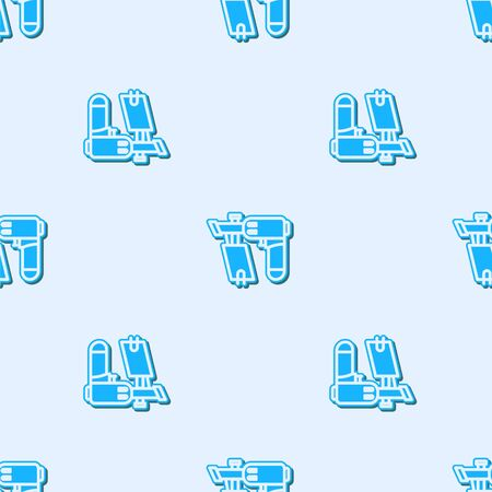 Blue line Nail gun icon isolated seamless pattern on grey background. Vector Illustration