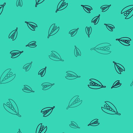 Black line Kidney beans icon isolated seamless pattern on green background. Vector Illustration