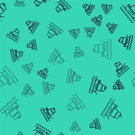 Black line Ship icon isolated seamless pattern on green background. Vector Illustration Vector Illustration