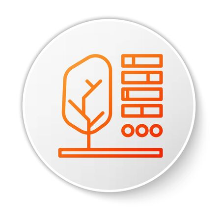 Orange line Plant status icon isolated on white background. White circle button. Vector Illustration
