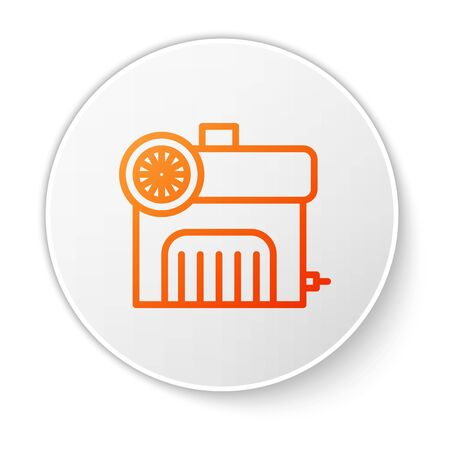 Orange line Air compressor icon isolated on white background. White circle button. Vector Illustration