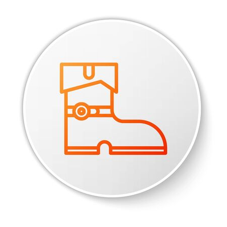 Orange line Leather pirate boots icon isolated on white background. White circle button. Vector Illustration